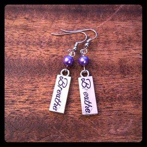 Purple Beaded Breathe Earrings